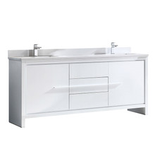 "FCB8172WH-CWH-U Fresca Allier 72"" White Modern Double Sink Bathroom Cabinet w/ Top & Sinks"