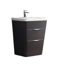 """FCB8525CN-I Fresca Milano 26"""" Chestnut Modern Bathroom Cabinet w/ Integrated Sink"""