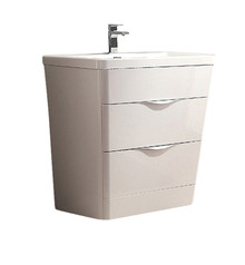 "FCB8532WH-I Fresca Milano 32"" Glossy White Modern Bathroom Cabinet w/ Integrated Sink"