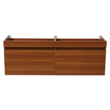 "Fresca  FCB8040TK Fresca Largo Teak 57"" Wall Hung  Modern Double Sink Bathroom Cabinet"