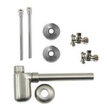 "Mountain Plumbing  MT7002-NL-PN  Lavatory Supply Kit w/ Decorative Trap - Angle - Mini Cross Handle - 1/2"" Compression (5/8"" O.D.) 3/8""  - Polished Nickel"