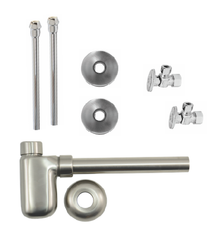 """Mountain Plumbing  MT8002-NL-PN  Lavatory Supply Kit w/ Decorative Trap - Angle - Oval Handle - 1/2"""" Compression (5/8"""" O.D.) 3/8""""  - Polished Nickel"""