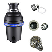 Mountain Plumbing  MTSINK2-PN  Perfect Grind Waste Disposer Continuous Feed 3-Bolt Mount 3/4 HP with Air Switch & Stopper / Strainer - Polished Nickel
