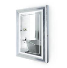 "LED Lighted Silver Frame Bathroom Mirror with Defogger - 24 "" x 36 "" Elsie by Krugg"