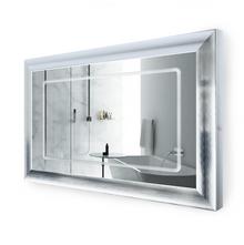 "LED Lighted Silver Frame Bathroom Mirror with Defogger - 48 "" x 30 "" Elsie by Krugg"