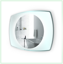 """LED Lighted Bathroom Mirror With Glass Frame - 32 """" x 24 """" Vetro by Krugg"""