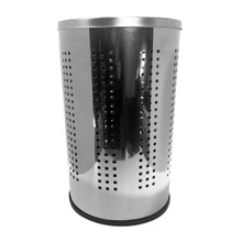 Krugg PSS46L 46L Ventilated Polished Stainless Steel Laundry Bin & Hamper with Lid - Clothes Basket PSS46L