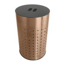 Krugg 50L Ventilated Brushed Copper Laundry Bin & Hamper - Stainless Steel Clothes Basket With MDF Lid