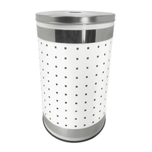 Krugg 50L Ventilated White and Polished Stainless Steel Laundry Bin & Hamper - Clothes Basket With Stainless Steel Lid WHS50L