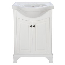 """Foremost CNWVT2536 Corsicana 26"""" Vanity Cabinet with China Sink Top - White"""