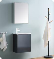 """Fresca Senza Valencia 20"""" Dark Slate Gray Wall Hung Bathroom Vanity w/ Medicine Cabinet"""