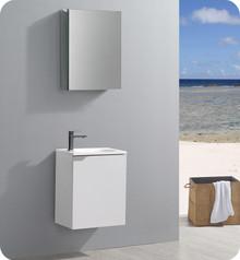 "Fresca Senza Valencia 20"" Glossy White Wall Hung  Bathroom Vanity w/ Medicine Cabinet"