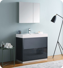 "Fresca Senza Valencia 36"" Dark Slate Gray Free Standing  Bathroom Vanity w/ Medicine Cabinet"