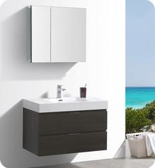 """Fresca Senza Valencia 36"""" Gray Oak Wall Hung  Bathroom Vanity w/ Medicine Cabinet"""