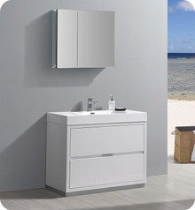 "Fresca Senza Valencia 40"" Glossy White Free Standing  Bathroom Vanity w/ Medicine Cabinet"
