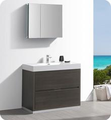 """Fresca Senza Valencia 40"""" Gray Oak Free Standing  Bathroom Vanity w/ Medicine Cabinet"""