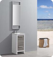 "Fresca Trieste Allier Rio 16"" Ash Gray  Bathroom Vanity w/ Mirror"