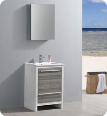 """Fresca Trieste Allier Rio 24"""" Ash Gray  Bathroom Vanity w/ Medicine Cabinet"""