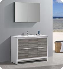 """Fresca Trieste Allier Rio 48"""" Ash Gray Single Sink  Bathroom Vanity w/ Medicine Cabinet"""