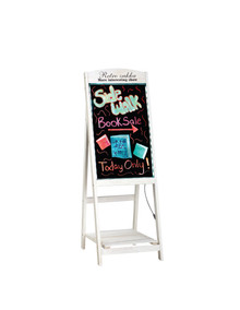 """Alpine 491-03 LED Illuminated Wooden Message Writing Board on an A-Stand plus Shelf 16"""" x 45"""" - White"""