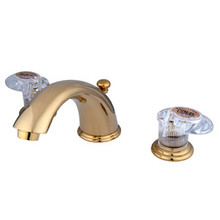 """Kingston Brass Two Handle 4"""" to 8"""" Mini Widespread Lavatory Faucet with Pop-Up Drain Drain - Polished Brass KB962ALL"""