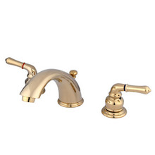 """Kingston Brass Two Handle 4"""" to 8"""" Mini Widespread Lavatory Faucet with Pop-Up Drain Drain - Polished Brass KB962"""