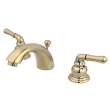 """Kingston Brass Two Handle 4"""" to 8"""" Mini Widespread Lavatory Faucet with Pop-Up Drain Drain - Polished Brass KB952"""