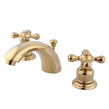 """Kingston Brass Two Handle 4"""" to 8"""" Mini Widespread Lavatory Faucet with Pop-Up Drain Drain - Polished Brass KB942AX"""
