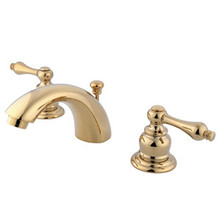 """Kingston Brass Two Handle 4"""" to 8"""" Mini Widespread Lavatory Faucet with Pop-Up Drain Drain - Polished Brass KB942AL"""