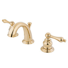 """Kingston Brass Two Handle 4"""" to 8"""" Mini Widespread Lavatory Faucet with Pop-Up Drain Drain - Polished Brass KB912AL"""
