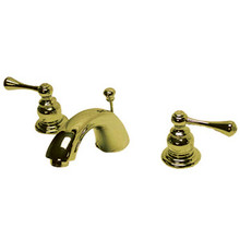 """Kingston Brass Two Handle 4"""" to 8"""" Mini Widespread Lavatory Faucet with Pop-Up Drain Drain - Polished Brass"""