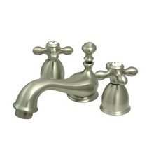 """Kingston Brass Two Handle 4"""" to 8"""" Mini Widespread Lavatory Faucet with Brass Pop-Up Drain - Satin Nickel KS3958AX"""