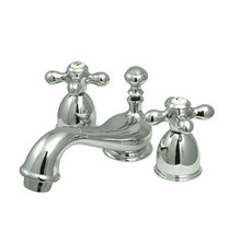 """Kingston Brass Two Handle 4"""" to 8"""" Mini Widespread Lavatory Faucet with Brass Pop-Up Drain - Polished Chrome KS3951AX"""