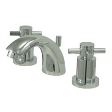 """Kingston Brass Two Handle 4"""" to 8"""" Mini Widespread Lavatory Faucet with Brass Pop-Up Drain - Polished Chrome KS2951DX"""