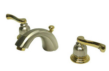 """Kingston Brass Two Handle 4"""" to 8"""" Mini Widespread Lavatory Faucet with Brass Pop-Up Drain - Satin Nickel/Polished Brass"""