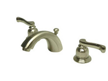 """Kingston Brass Two Handle 4"""" to 8"""" Mini Widespread Lavatory Faucet with Brass Pop-Up Drain - Satin Nickel KB8958FL"""