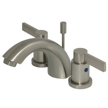 """Kingston Brass Two Handle 4"""" to 8"""" Mini Widespread Lavatory Faucet with Brass Pop-Up Drain - Satin Nickel KB8958NDL"""
