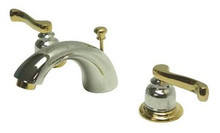 """Kingston Brass Two Handle 4"""" to 8"""" Mini Widespread Lavatory Faucet with Brass Pop-Up Drain - Polished Chrome/Polished Brass"""