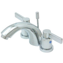 """Kingston Brass Two Handle 4"""" to 8"""" Mini Widespread Lavatory Faucet with Brass Pop-Up Drain - Polished Chrome KB8951NDL"""