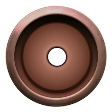 Whitehaus WH1818COPR-OBS Copperhaus Large Round Drop-in or Undermount Prep Sink with Smooth Texture - Smooth Bronze