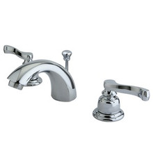 """Kingston Brass Two Handle 4"""" to 8"""" Mini Widespread Lavatory Faucet with Brass Pop-Up Drain - Polished Chrome KB8951FL"""