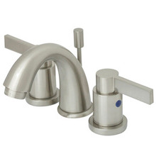 """Kingston Brass Two Handle 4"""" to 8"""" Mini Widespread Lavatory Faucet with Brass Pop-Up Drain - Satin Nickel KB8918NDL"""