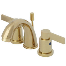 """Kingston Brass Two Handle 4"""" to 8"""" Mini Widespread Lavatory Faucet with Brass Pop-Up Drain - Polished Brass KB8912NDL"""