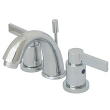 """Kingston Brass Two Handle 4"""" to 8"""" Mini Widespread Lavatory Faucet with Brass Pop-Up Drain - Polished Chrome KB8911NDL"""