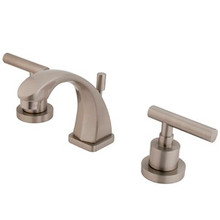 """Kingston Brass Two Handle 4"""" to 8"""" Mini Widespread Lavatory Faucet with Brass Pop-Up Drain - Satin Nickel KS4948CML"""
