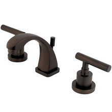 """Kingston Brass Two Handle 4"""" to 8"""" Mini Widespread Lavatory Faucet with Brass Pop-Up Drain - Oil Rubbed Bronze KS4945CML"""