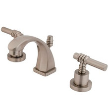 """Kingston Brass Two Handle 4"""" to 8"""" Mini Widespread Lavatory Faucet with Brass Pop-Up Drain - Satin Nickel KS4948ML"""