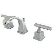 """Kingston Brass Two Handle 4"""" to 8"""" Mini Widespread Lavatory Faucet with Brass Pop-Up Drain - Polished Chrome"""
