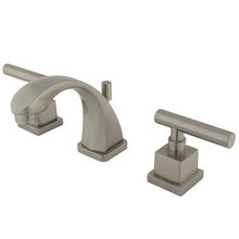 """Kingston Brass Two Handle 4"""" to 8"""" Mini Widespread Lavatory Faucet with Brass Pop-Up Drain - Satin Nickel"""