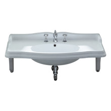 Whitehaus AR864-MNSLEN-3H Isabella Large Rectangular Wall Mount Sink with Integrated Oval Bowl, Widespread Faucet Drilling and Ceramic Shelf Supports - White